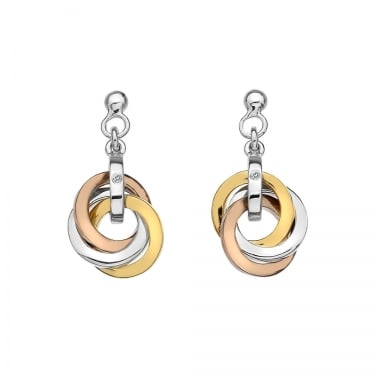 Hot Diamond Three Tone Drop Earrings