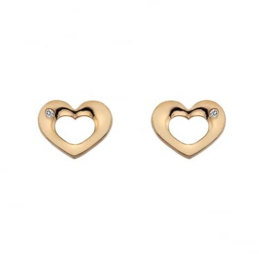 Hot Diamonds Emerge Rose Gold Open Heart Earrings