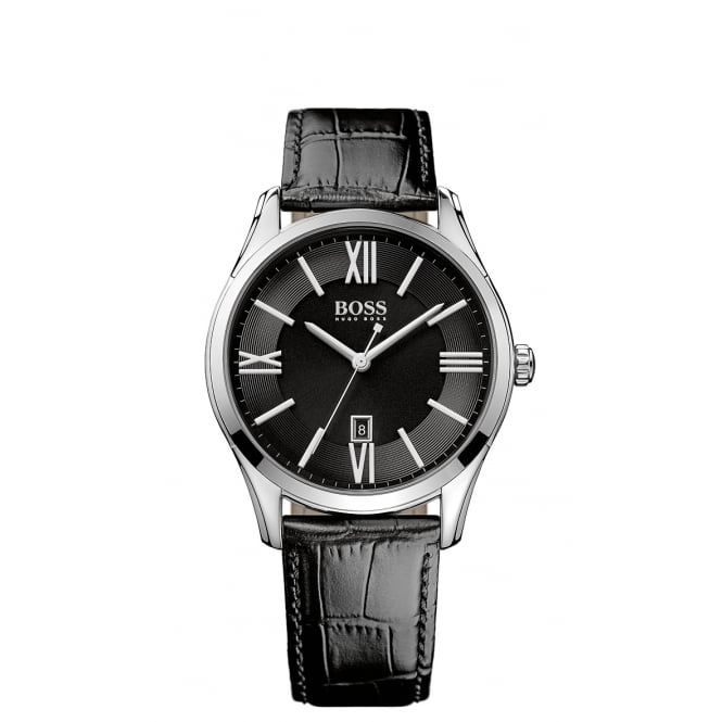 Hugo Boss Black Leather Strap with Black Face Watch