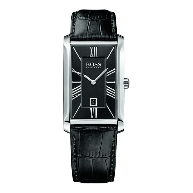 Hugo Boss Gents Black Leather Black Face Watch