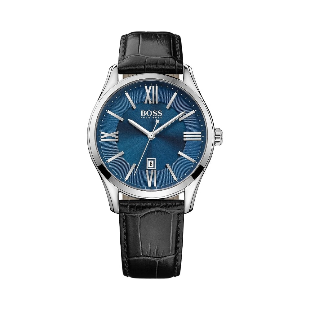 Hugo Boss Gents Black Leather Blue Face Watch - Watches from Faith ... 56d7653fb
