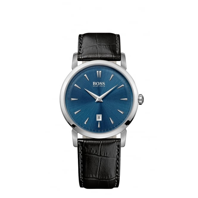 Hugo Boss Gents Black Leather Strap Navy Face Watch