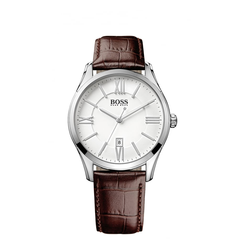 Hugo Boss Hugo Boss Gents Brown Leather Strap White Face Watch