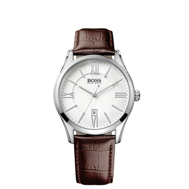Hugo Boss Gents Brown Leather Strap White Face Watch