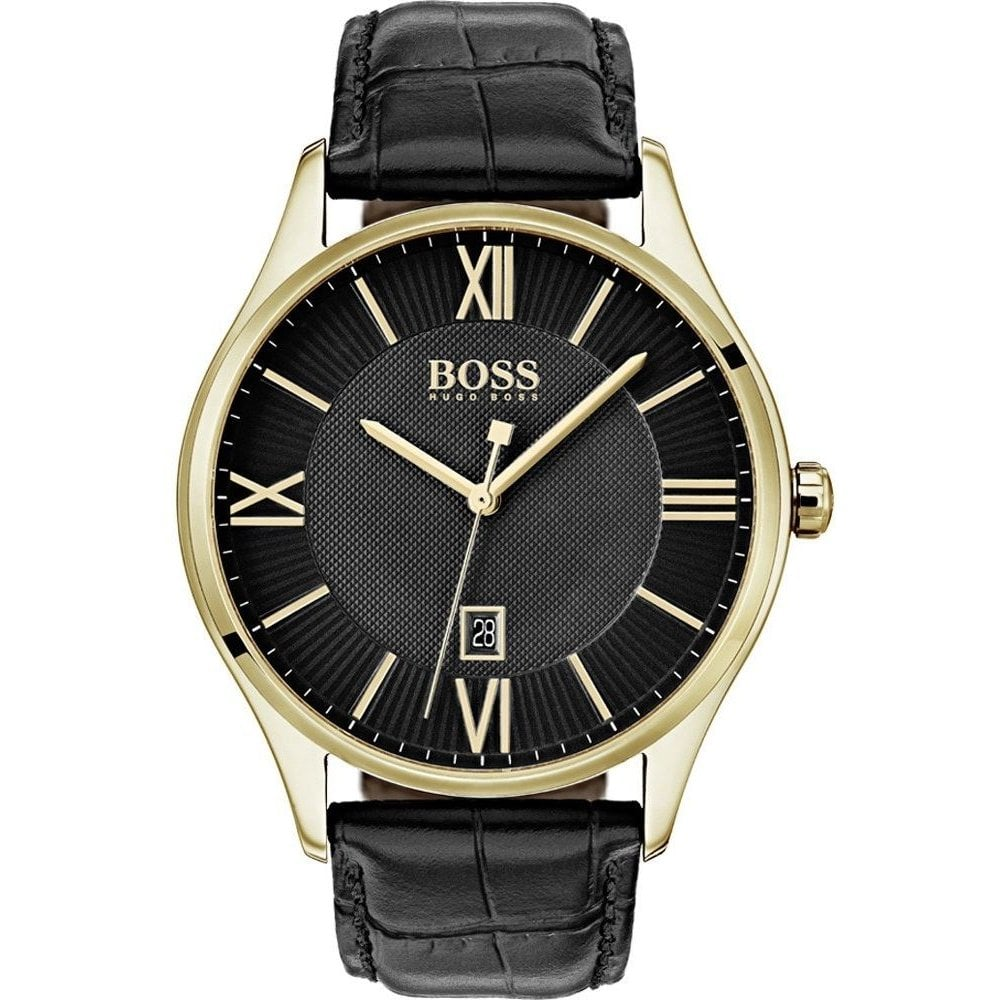 83f4eb32c Hugo Boss Gents Governor Black Leather Watch - Watches from Faith ...