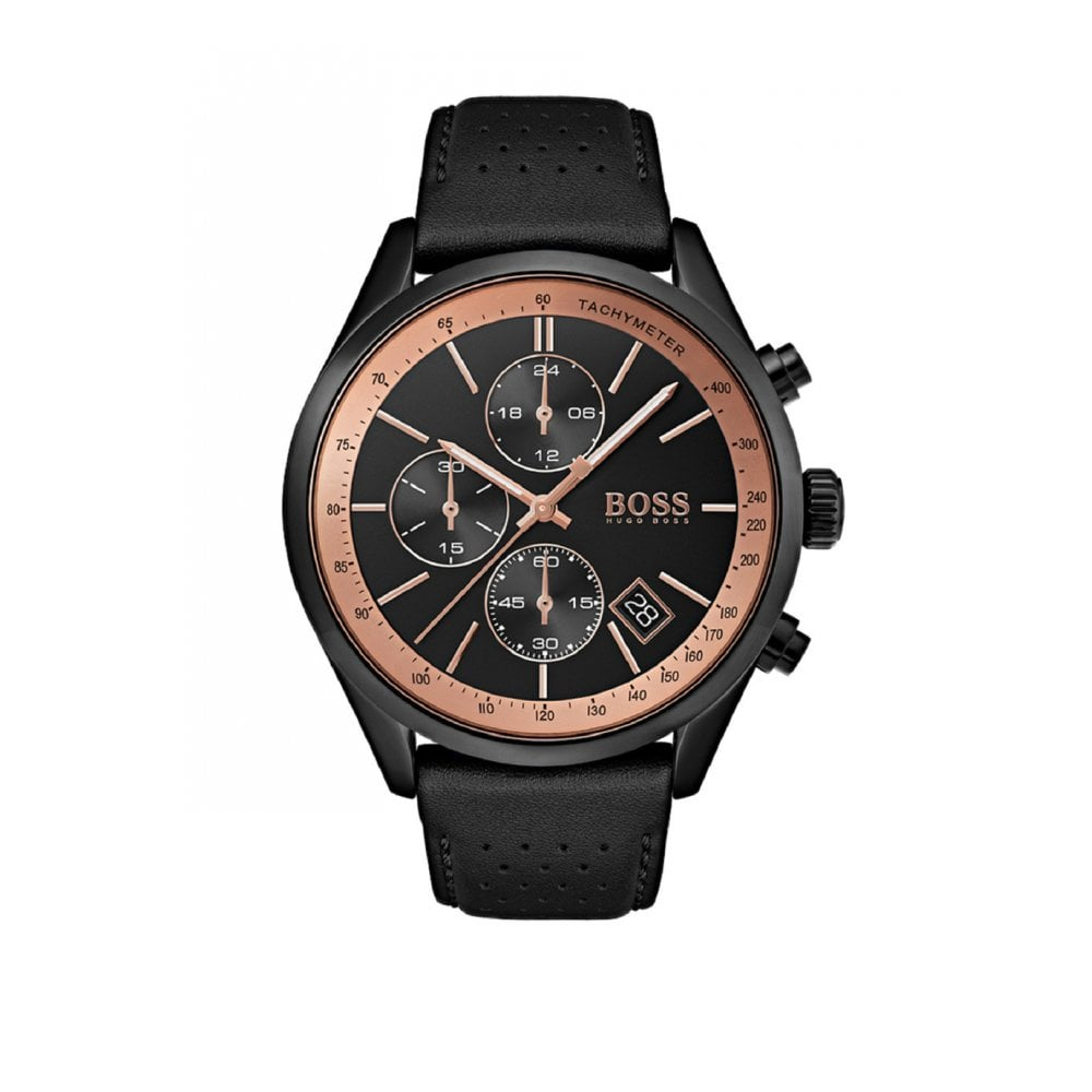 3d1694f425f06 Hugo Boss Gents Grand Prix Black Leather Watch - Watches from Faith ...