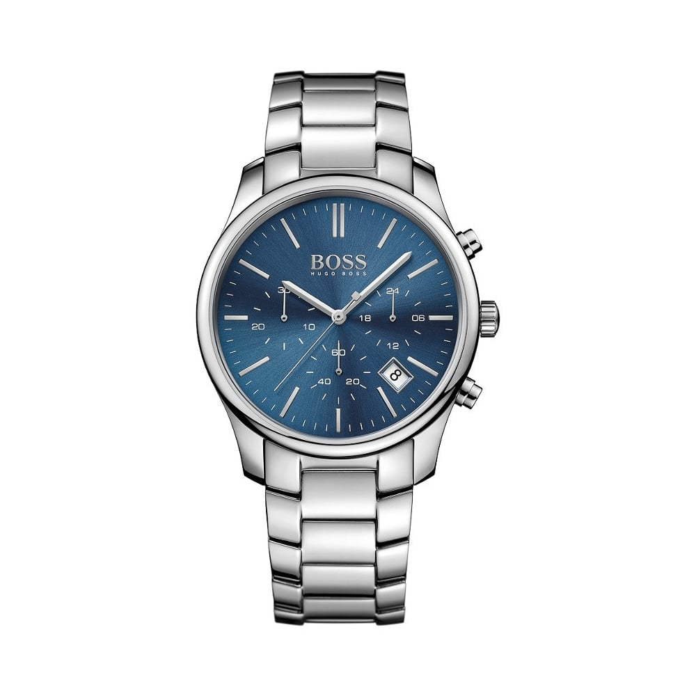 Hugo Boss Gents Silver Navy Blue Face Watch - Watches from Faith ... 66cdb8f9c7bd