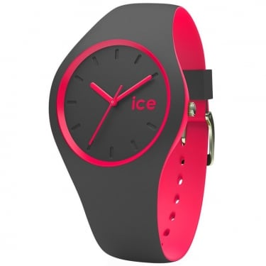 Ice Duo Anthracite Pink Silicone Strap Watch