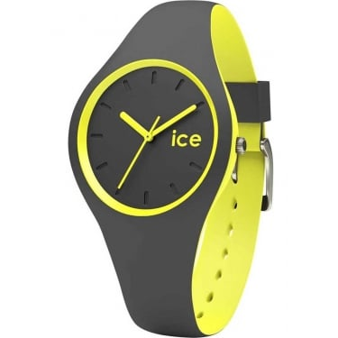 Ice Duo Anthracite Yellow Silicone Strap Watch