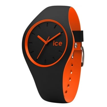 Ice Duo Black Orange Silicone Strap Watch