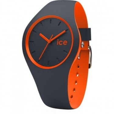 Ice Duo Grey Orange Silicone Strap Watch