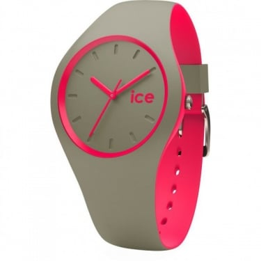 Ice Duo Khaki Pink Silicone Strap Watch