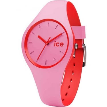 Ice Duo Pink Red Silicone Strap Watch