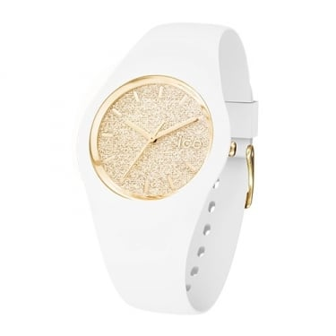 Ice Glitter Small White and Gold Watch