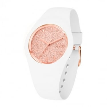 Ice Glitter Small White and Rose Gold Watch