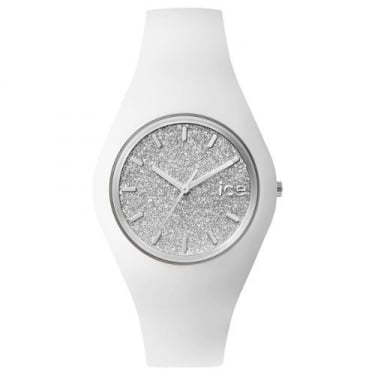 Ice Glitter Small White and Silver Watch