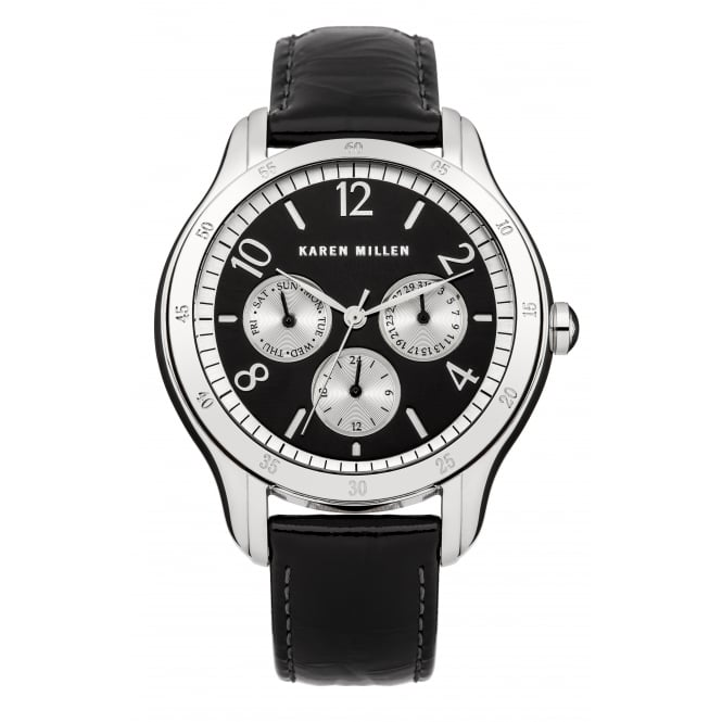 Karen Millen Ladies Black Strap Black Face Watch