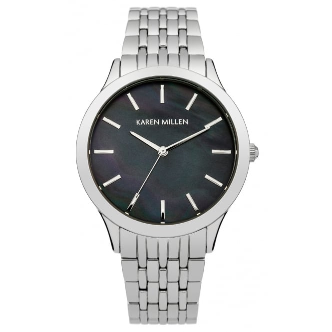 Karen Millen Ladies Silver Strap Black Face Watch