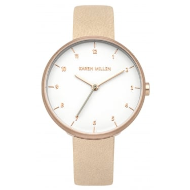 Karen Millen Rose Gold Watch With Nude Leather Strap