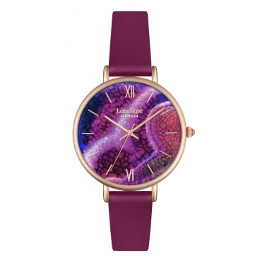 Lola Rose Rose Gold Tone Agate Dial Berry Leather Strap