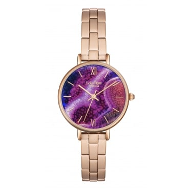Lola Rose Rose Gold Tone Agate Dial Bracelet Strap Watch