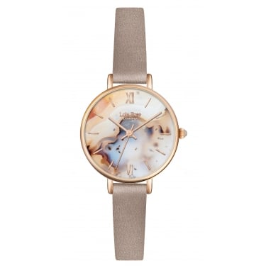 Lola Rose Rose Gold Tone Agate Dial Marsupial Leather Strap Watch