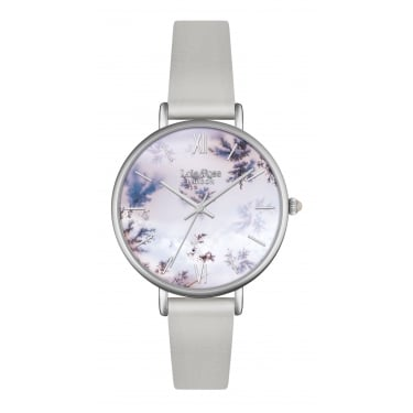 Lola Rose Silver Tone Agate Dial Grey Leather Strap Watch