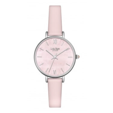 Lola Rose Silver Tone Quartz Dial Pink Leather Strap Watch