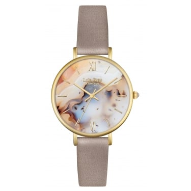Lola Rose Yellow Gold Tone Agate Dial Marsupial Leather Strap Watch