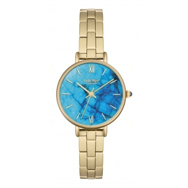 Lola Rose Yellow Gold Tone Magnesite Dial Bracelet Strap Watch