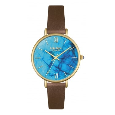 Lola Rose Yellow Gold Tone Magnesite Dial Tan Leather Strap Watch