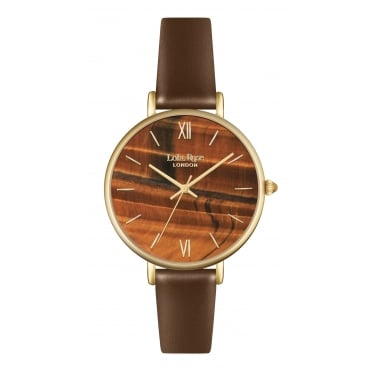 Lola Rose Yellow Gold Tone Tigers Eye Dial Brown Leather Strap Watch