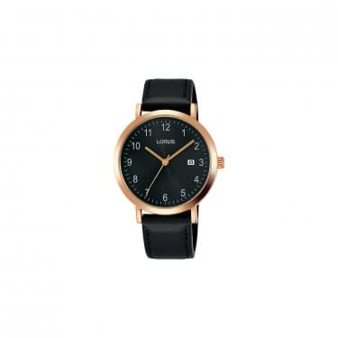 Lorus Gents Black Leather Watch