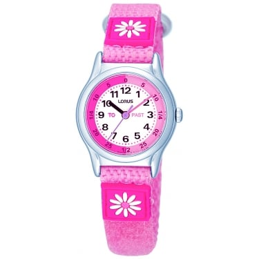 Lorus Kids Watch Pink with Flowers