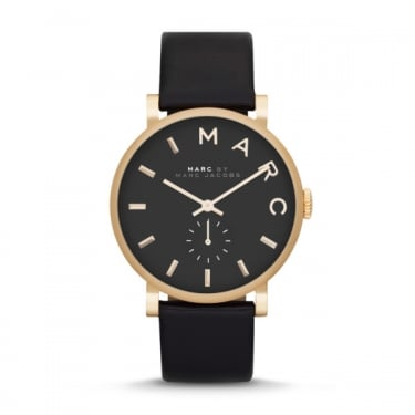 Marc by Marc Jacobs Ladies Baker Black Leather Watch