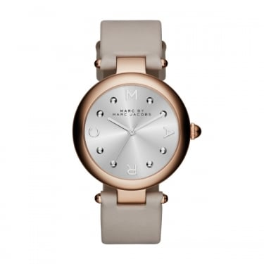 Marc Jacobs Ladies Dotty Rose Gold Grey Strap Watch