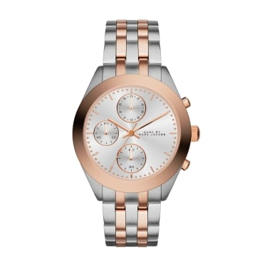 Marc Jacobs Ladies Peeker Chrono Silver and Rose Gold Watch