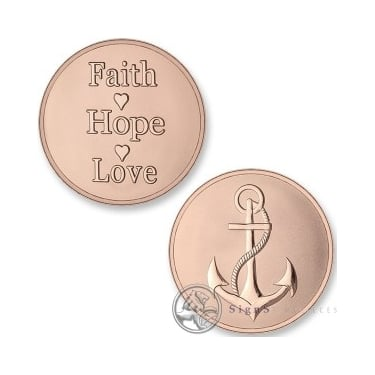 Mi Moneda Anchor - Faith Hope and Love Rose Gold Large