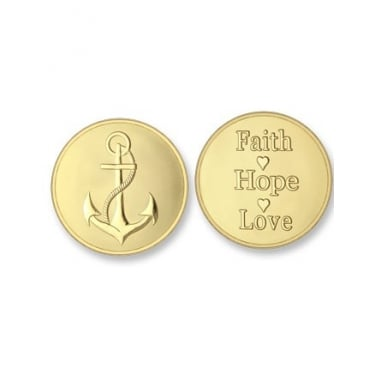 Mi Moneda Anchor - Faith Hope and Love Yellow Gold Medium