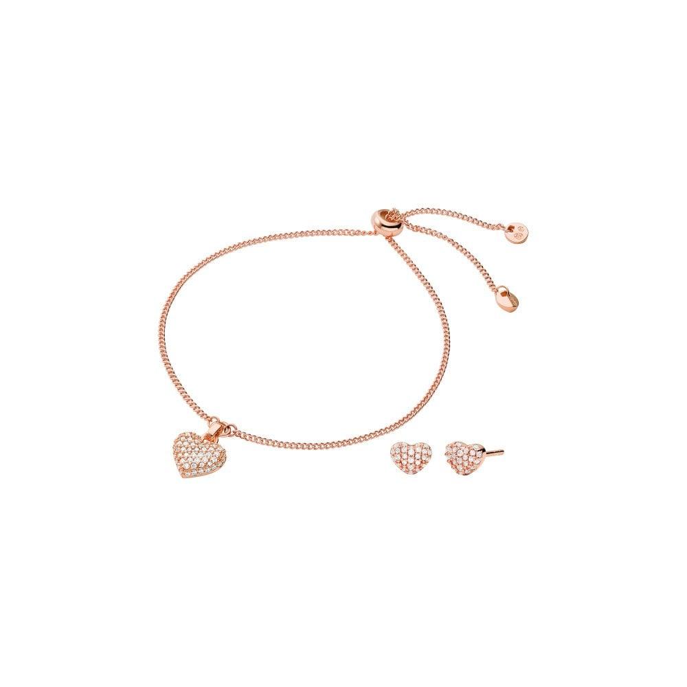 usa cheap sale ever popular cute cheap 14K Rose Gold Pave CZ Heart Slider Bracelet & Earring Set