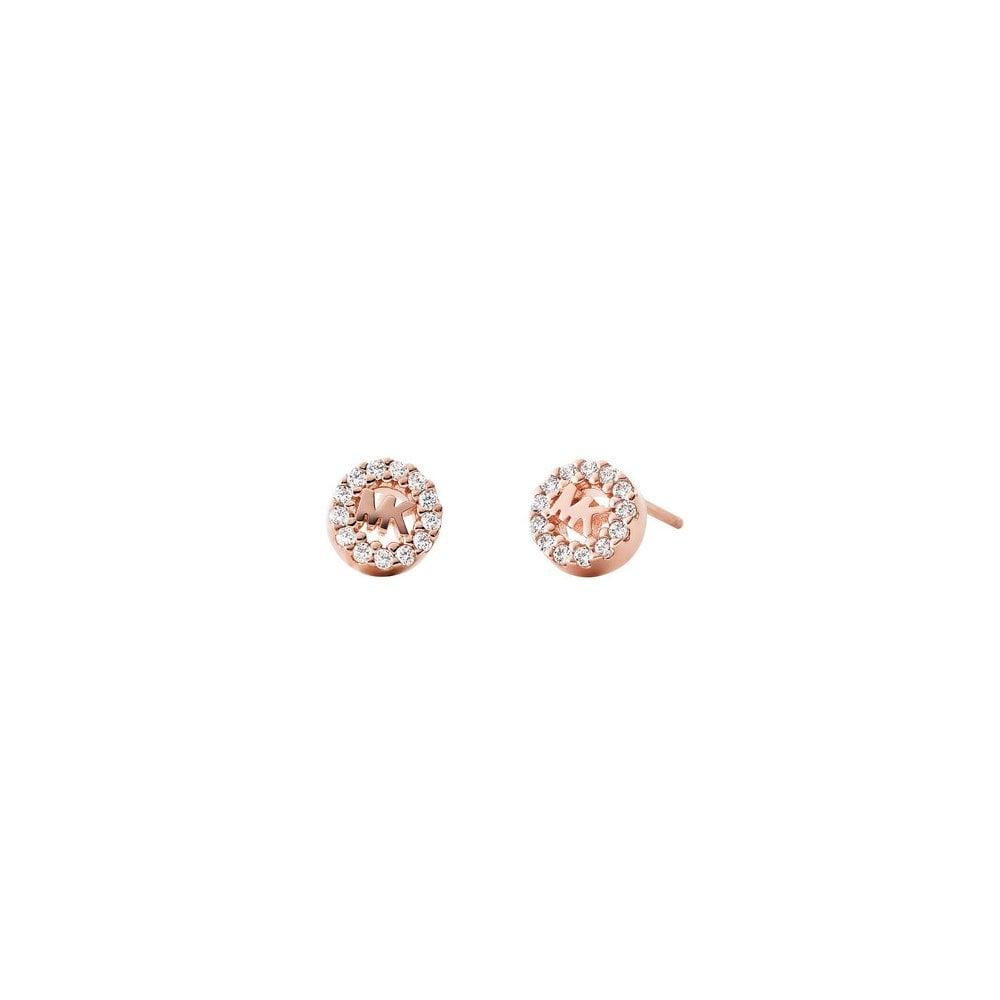 26260478febe1 14k Rose Gold Plated Sterling Silver CZ Stud Earrings