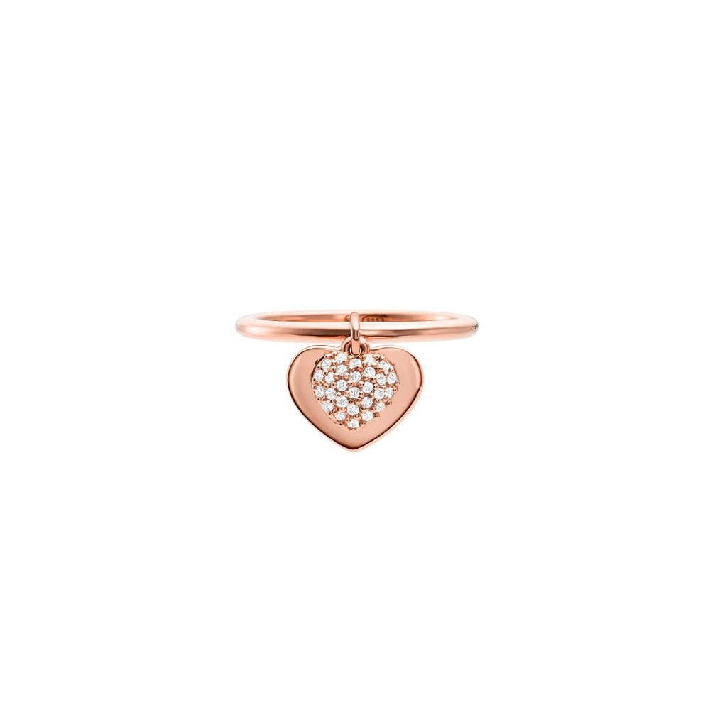 526ec8efda069 Michael Kors 14k Rose Gold Plated Sterling Silver Love CZ Heart Ring ...