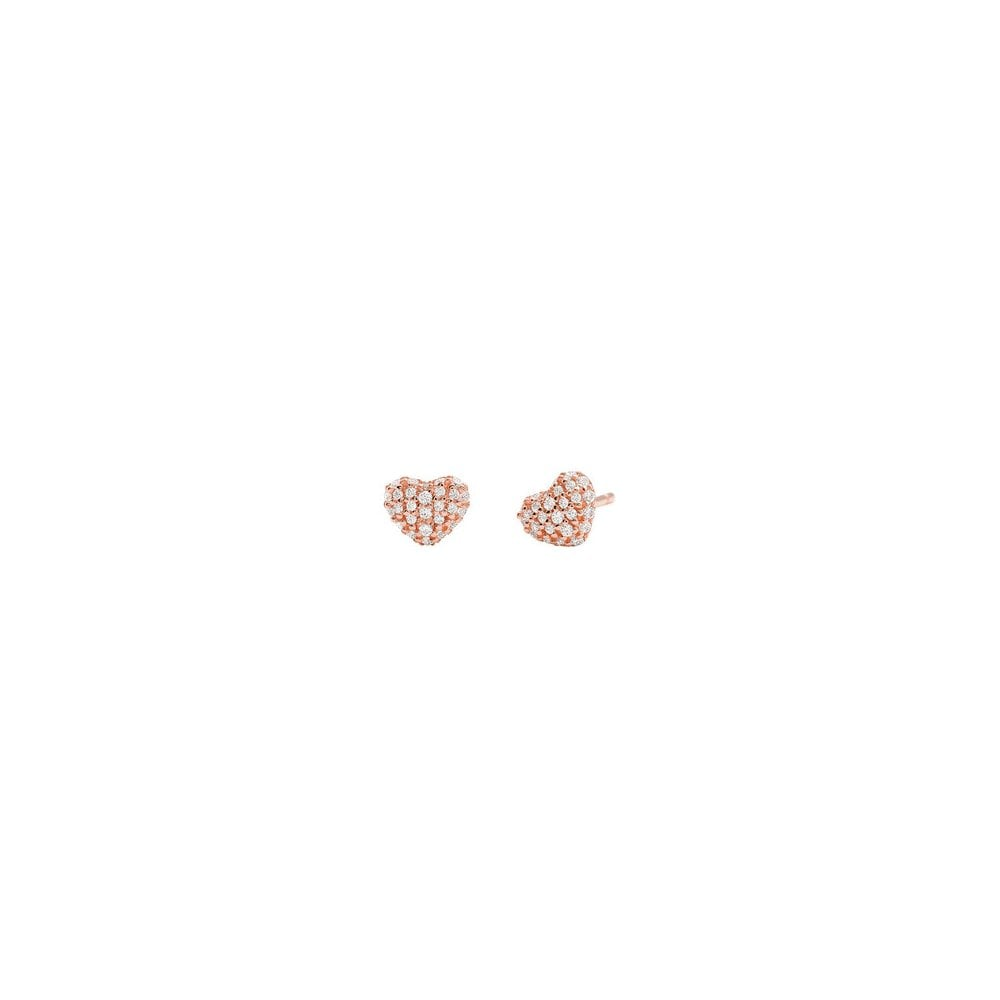 5293e497f7f322 Michael Kors 14k Rose Gold Plated Sterling Silver Love CZ Heart Stud  Earrings