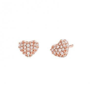 0177afc13 Michael Kors 14k Rose Gold Plated Sterling Silver Love CZ Heart Stud  Earrings