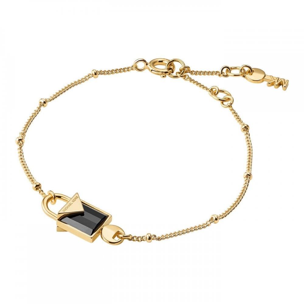 8b4a581efa13f7 Michael Kors 14k Yellow Gold Plated Sterling Silver Black Onyx Lock Bracelet