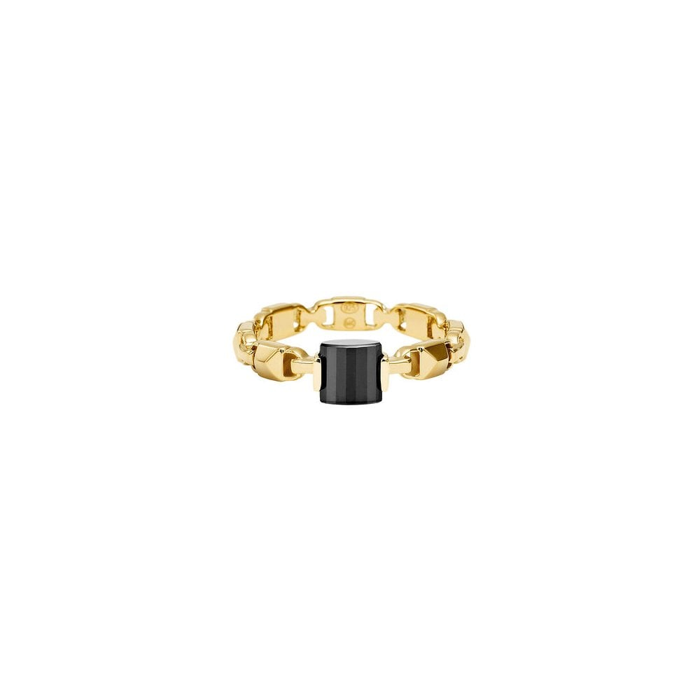 d6520cb518d0a Michael Kors 14k Yellow Gold Plated Sterling Silver Mercer Link Black Onyx  Ring