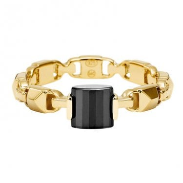 1fb9b28175f4e Michael Kors 14k Yellow Gold Plated Sterling Silver Mercer Link Black Onyx  Ring