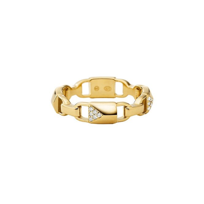 6d7691273a6b3 Michael Kors 14k Yellow Gold Plated Sterling Silver Mercer Link CZ Ring