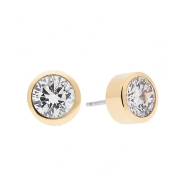 Michael Kors Brilliance Yellow Gold Tone Crystal Stud Earrings