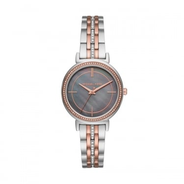 Michael Kors Cinthia Silver and Rose Gold Ladies Watch